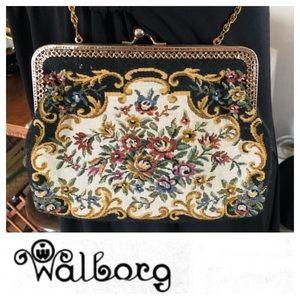 Vintage WALBORG Tapestry Crossbody Clutch